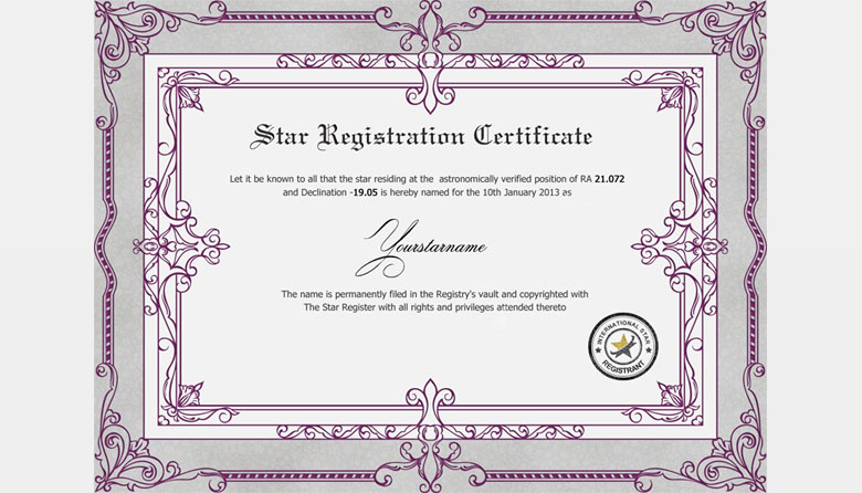 Where can I buy a certificate to name a star after someone?